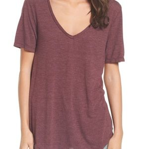 Nordstrom's BP V Neck Tee in Burgundy